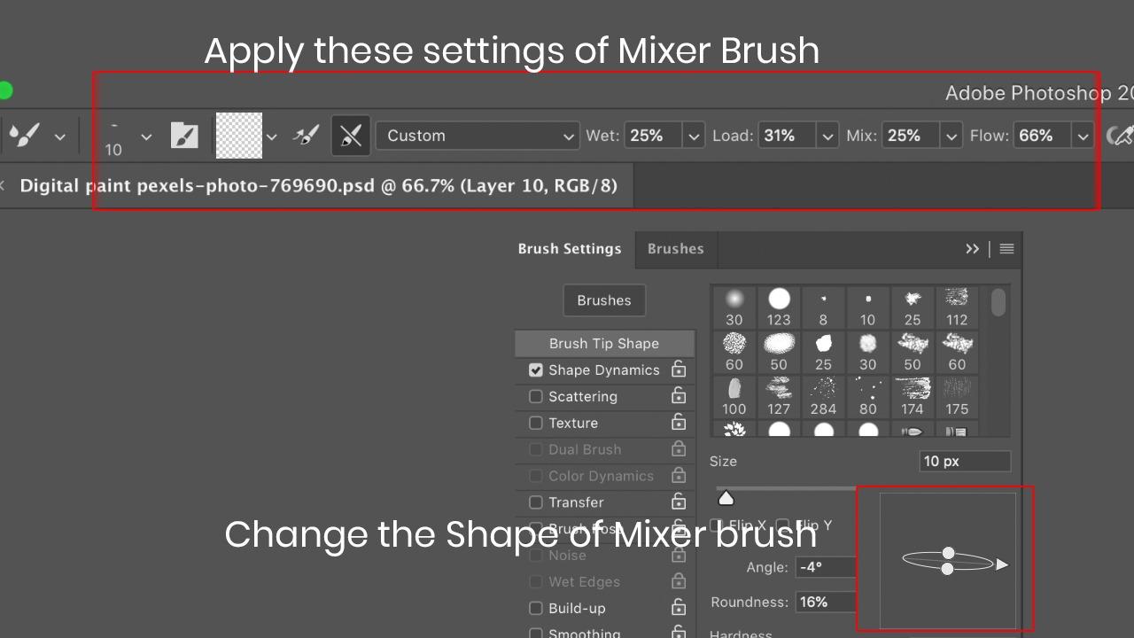 Mixer brush for digital painting