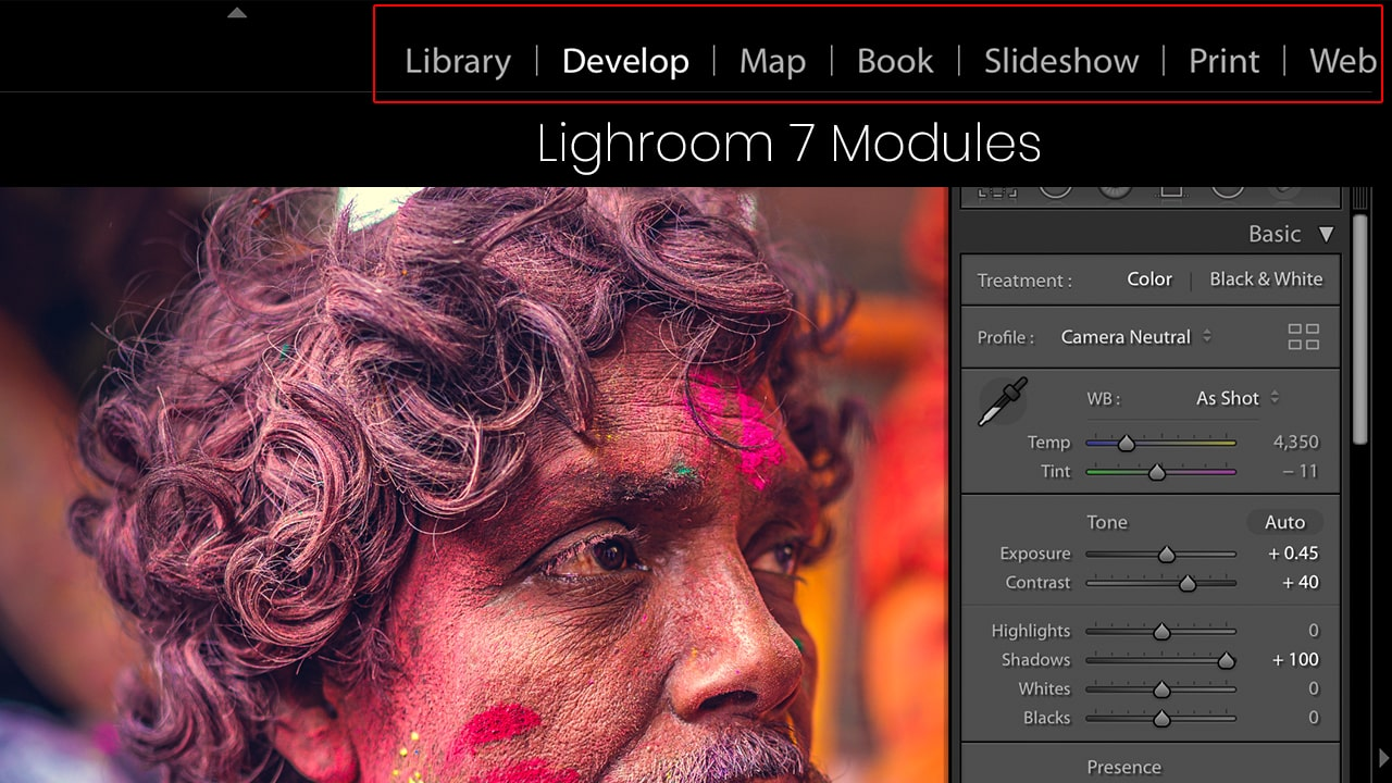 lightroom 7 modules for photo editing