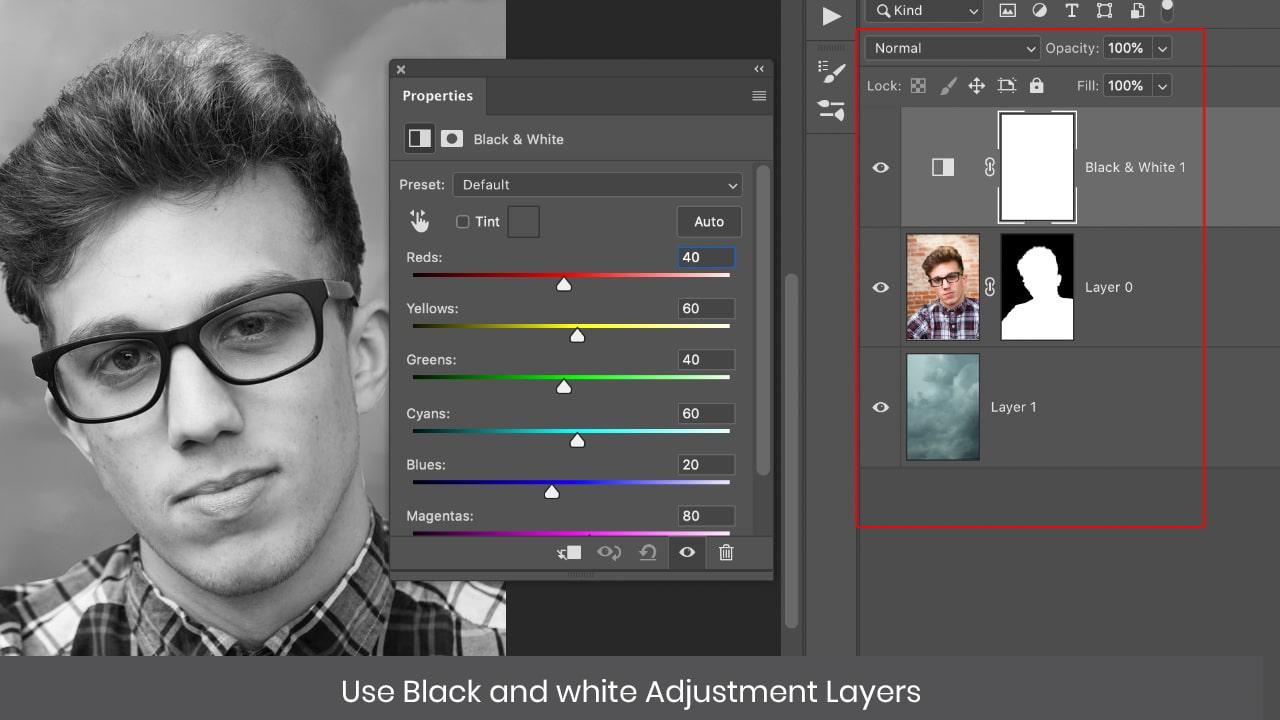 black white adjsutment layer