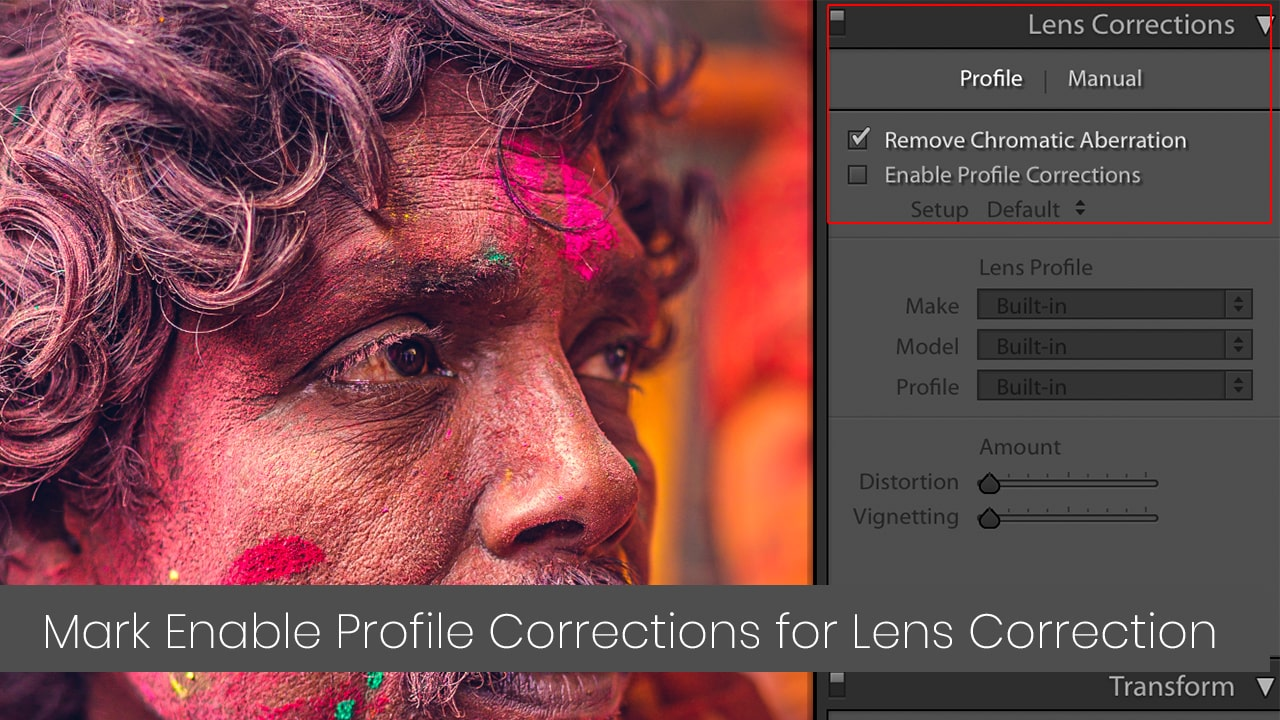 click on enable profile correction in lightroom