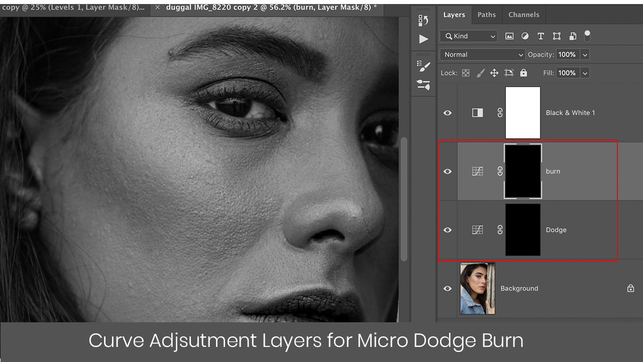 photoshop curve adjustment layers for micro dodge burn