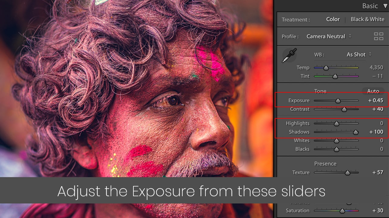 expose the photo from exposure, highlight and shadow