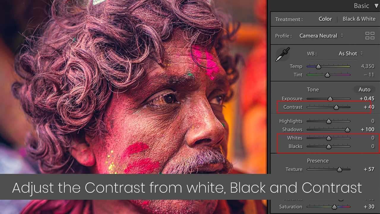 use Contrast, Black, white slider for local contrast in Lightroom