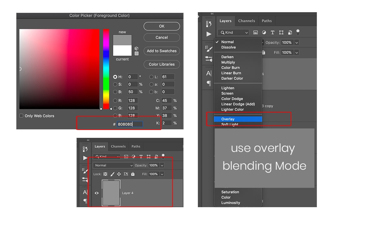 fill the 808080 color in empty photoshop layer and set blending mode to overlay