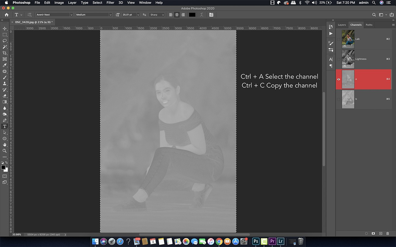 adobe Photoshop rgb color mode to lab color mode to get teal orange photo effects and copy channels a to channels b