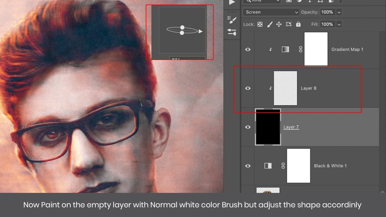 paint of empty layer with white photoshop brush