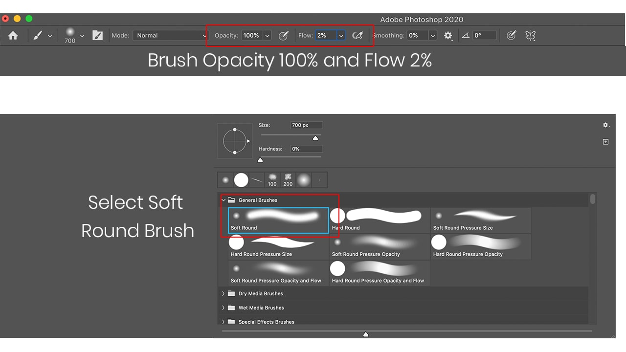 photoshop soft round brush for skin retouching