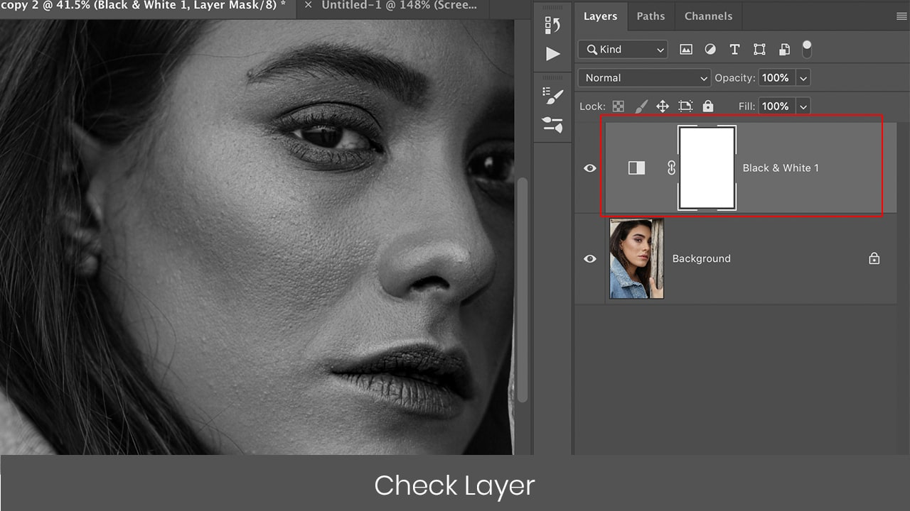 Photoshop black and white check layers