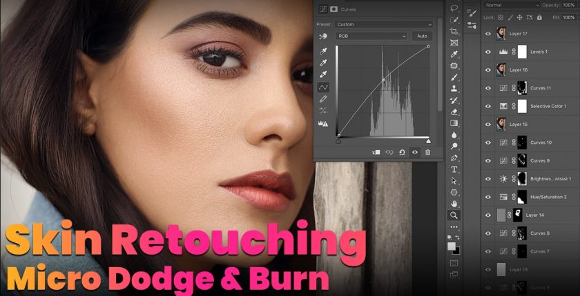 skin retouching with micro dodge and burn in photoshop